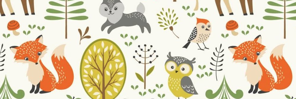 Wallpaper with different types of animals