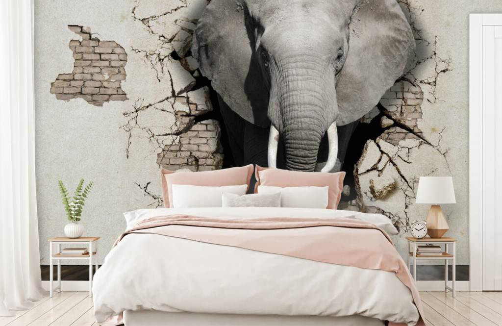 Animals - 3D Elephant from the wall - Teenage room 4