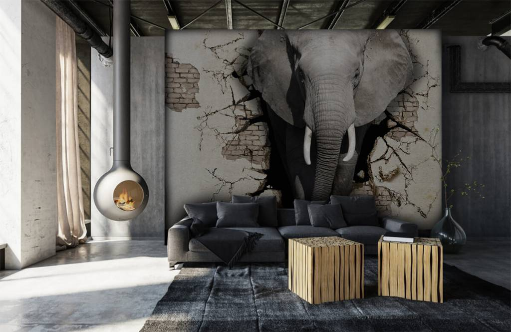 Animals - 3D Elephant from the wall - Teenage room 6