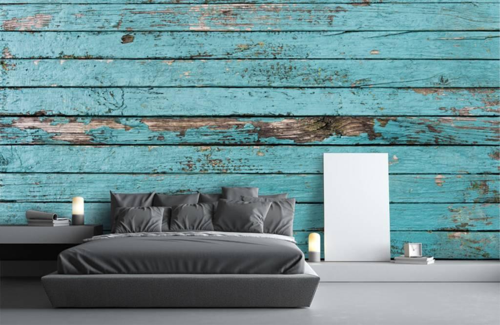 Wooden wallpaper - Blue wood - Bedroom 1
