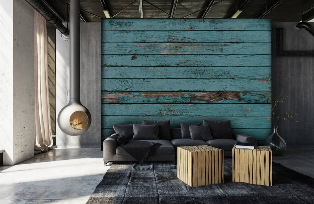 Wooden wallpaper - Blue wood - Bedroom 6