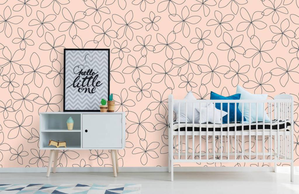 Patterns for Kidsroom - Blue flowers - Children's room 1
