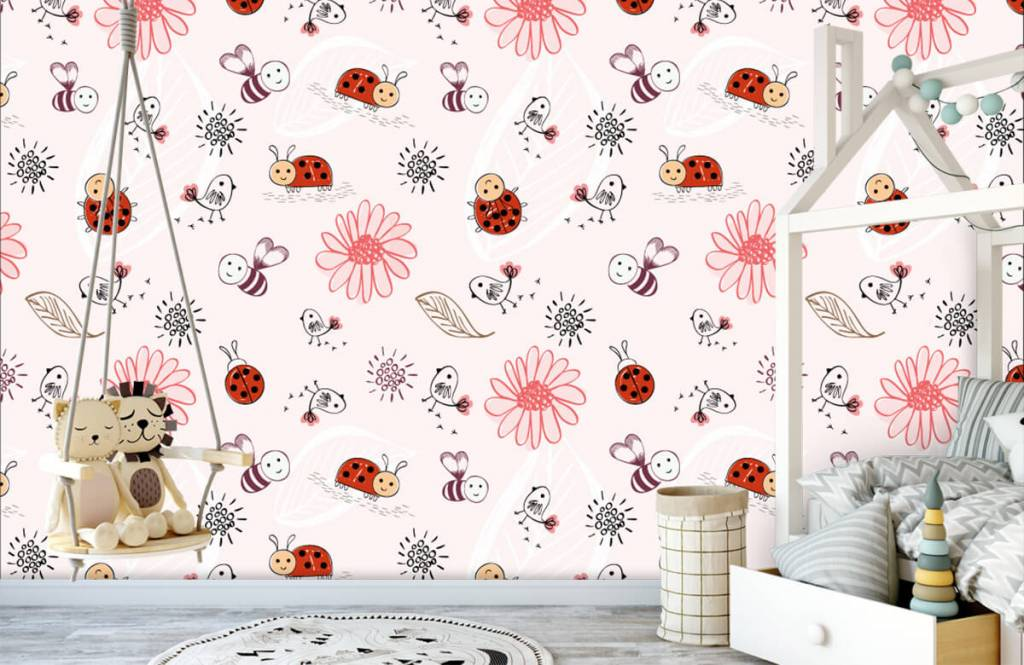 Baby wallpaper - Flowers and bees - Baby room 1