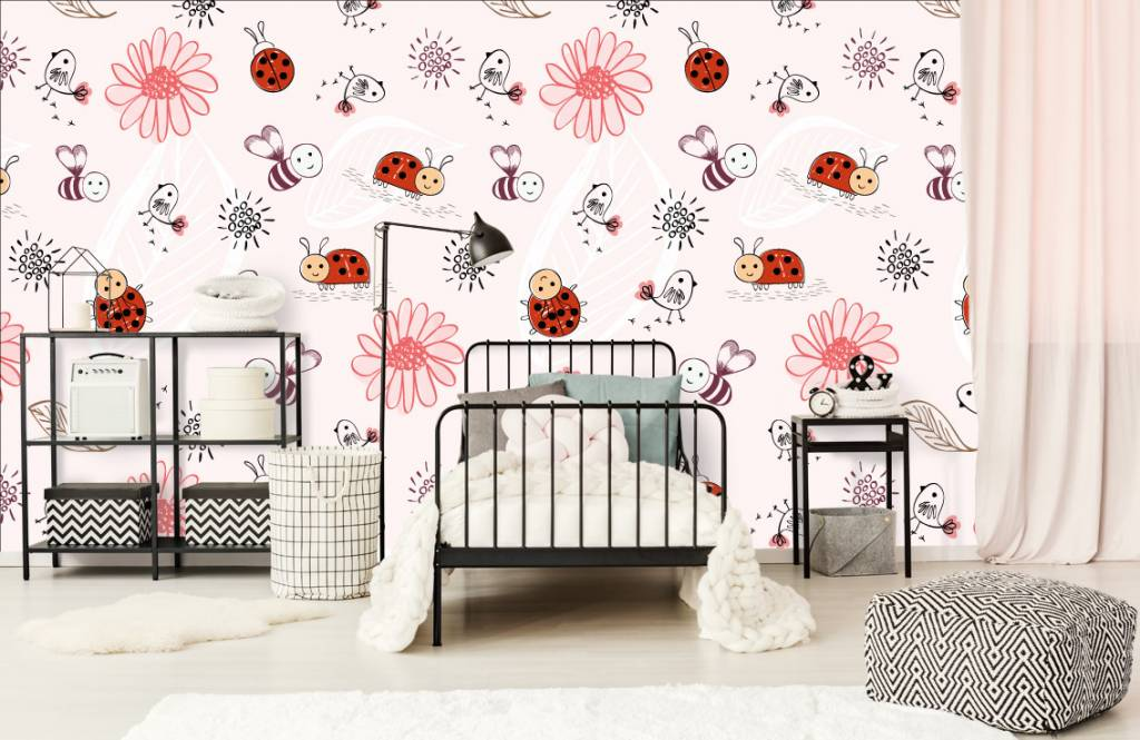 Baby wallpaper - Flowers and bees - Baby room 2