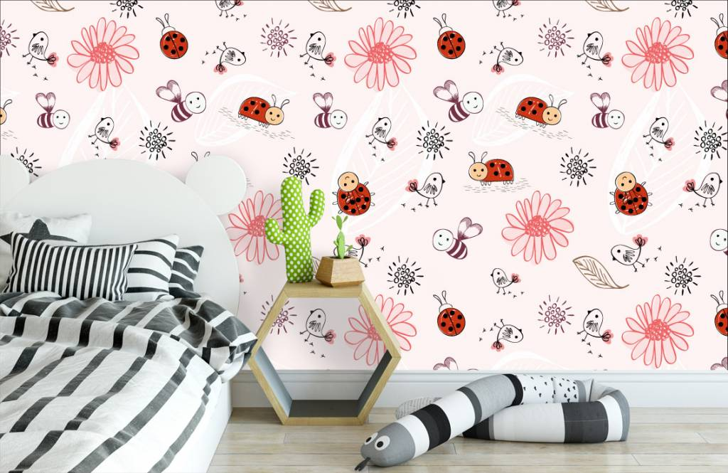 Baby wallpaper - Flowers and bees - Baby room 3
