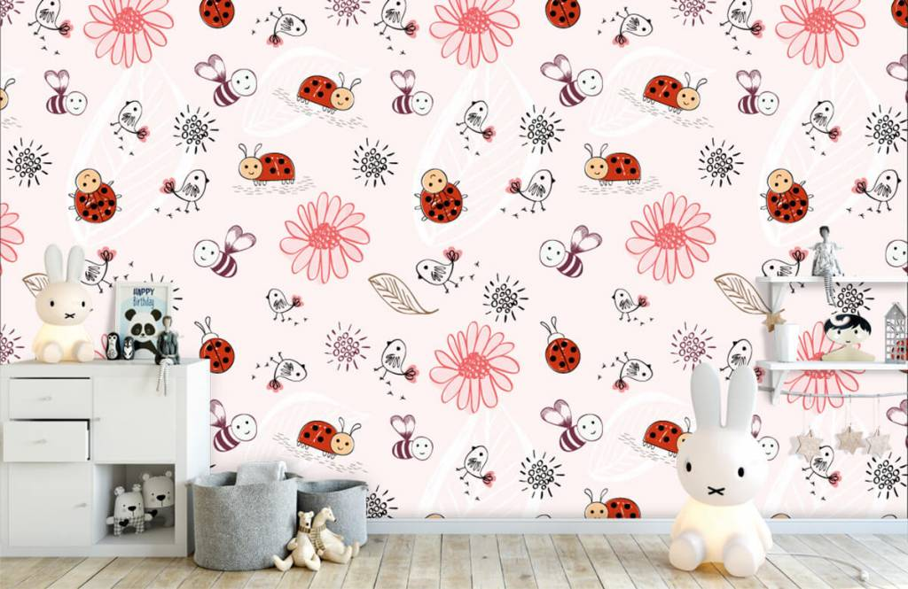 Baby wallpaper - Flowers and bees - Baby room 5