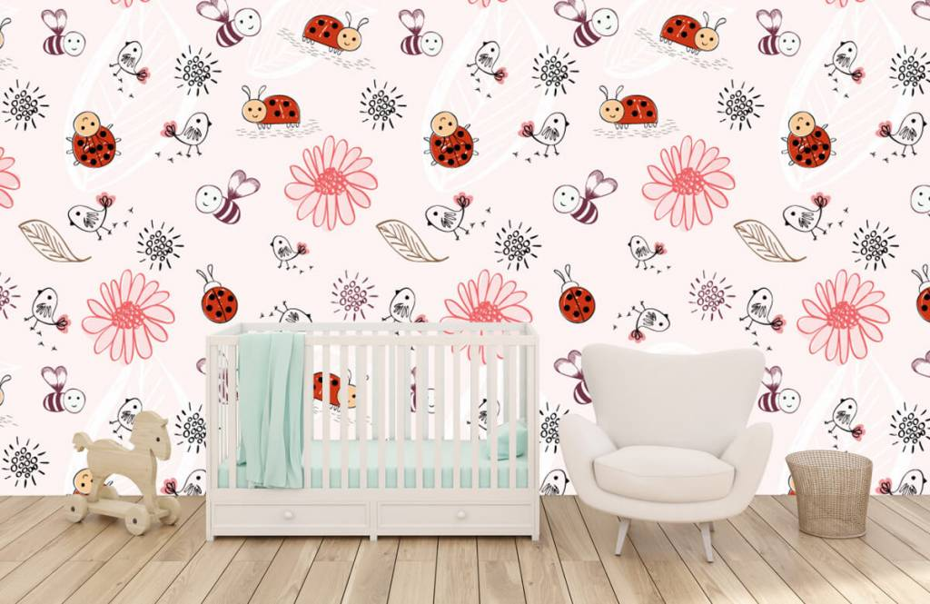 Baby wallpaper - Flowers and bees - Baby room 6