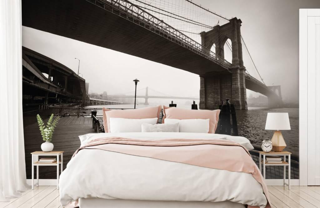 Black and white wallpaper - Brooklyn Bridge - Teenage room 2