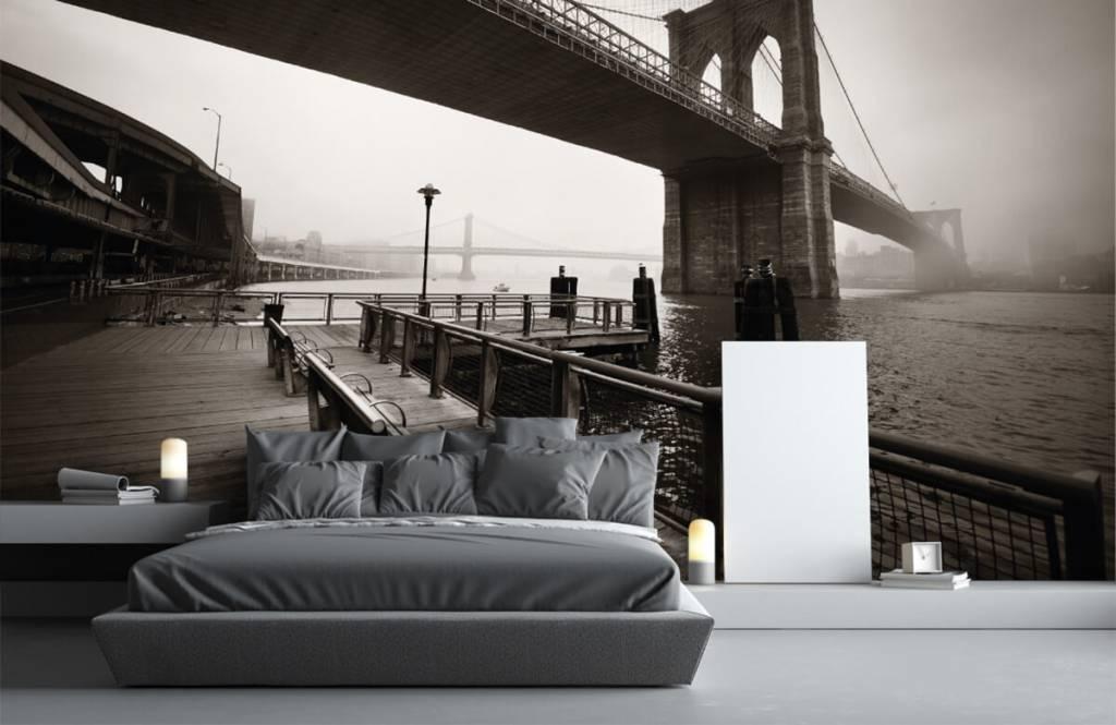 Black and white wallpaper - Brooklyn Bridge - Teenage room 3