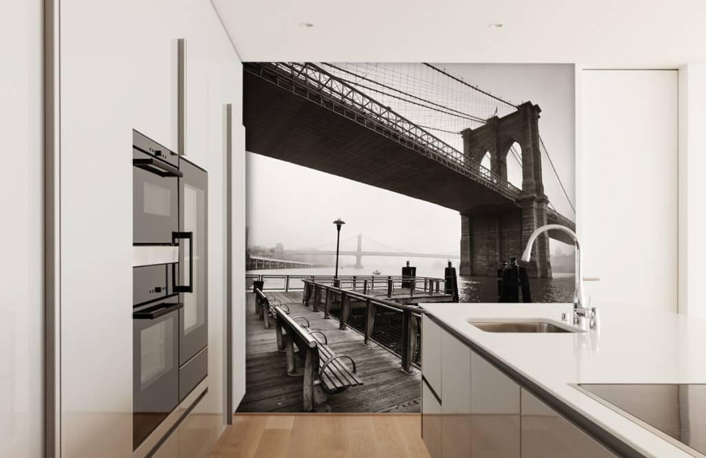 Black and white wallpaper - Brooklyn Bridge - Teenage room 4