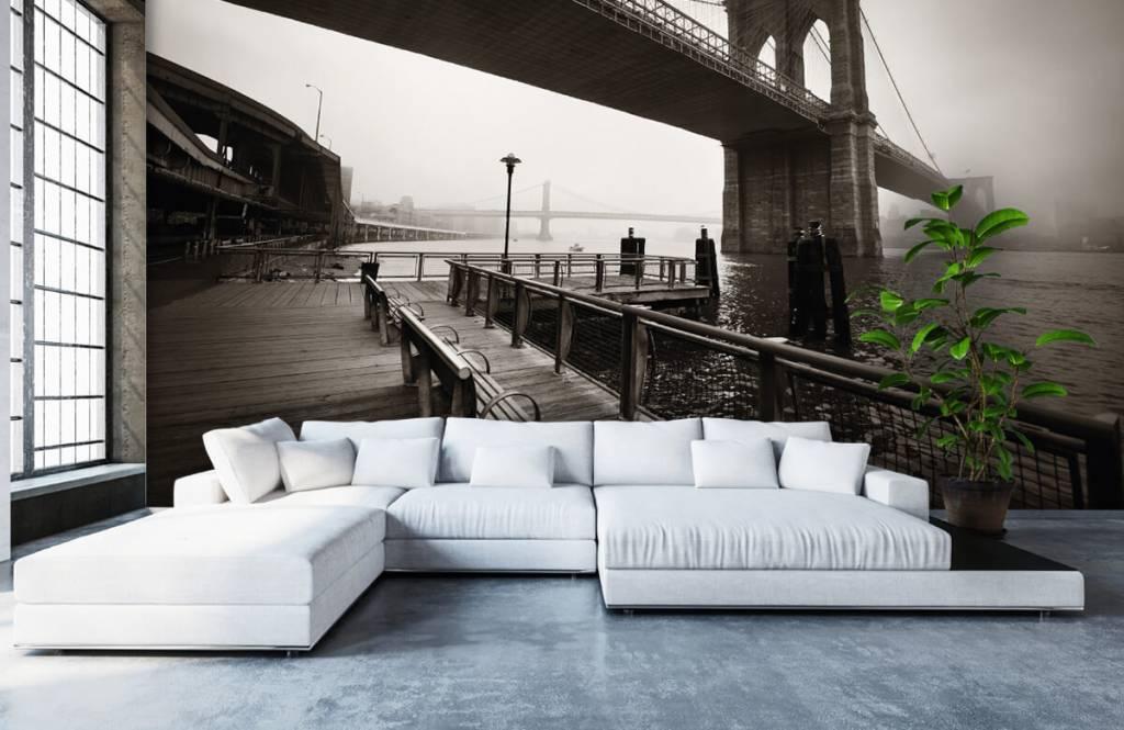 Black and white wallpaper - Brooklyn Bridge - Teenage room 6