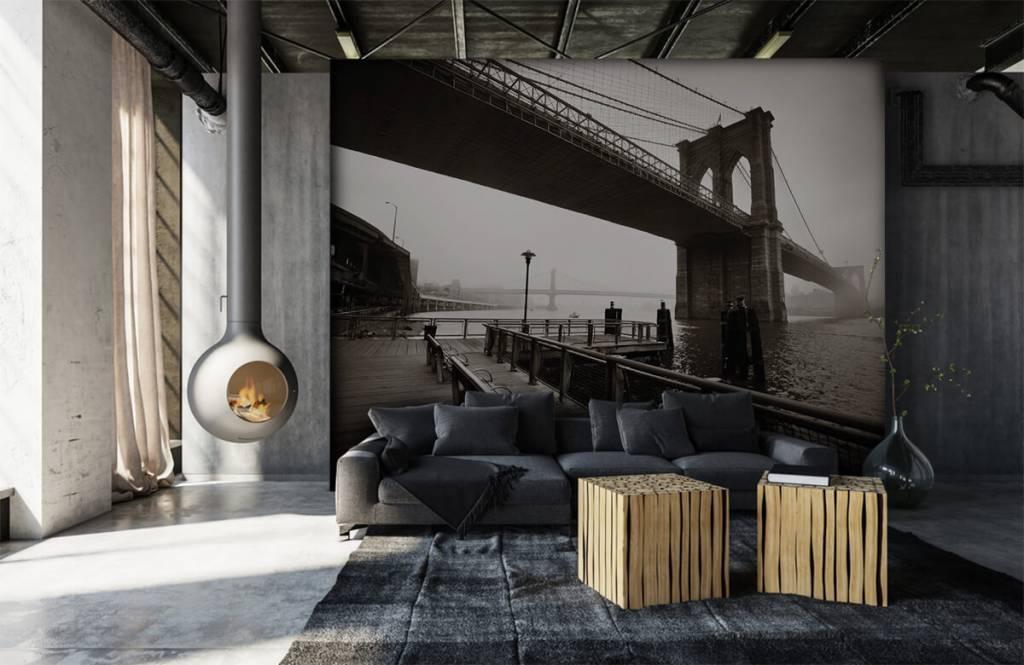 Black and white wallpaper - Brooklyn Bridge - Teenage room 7