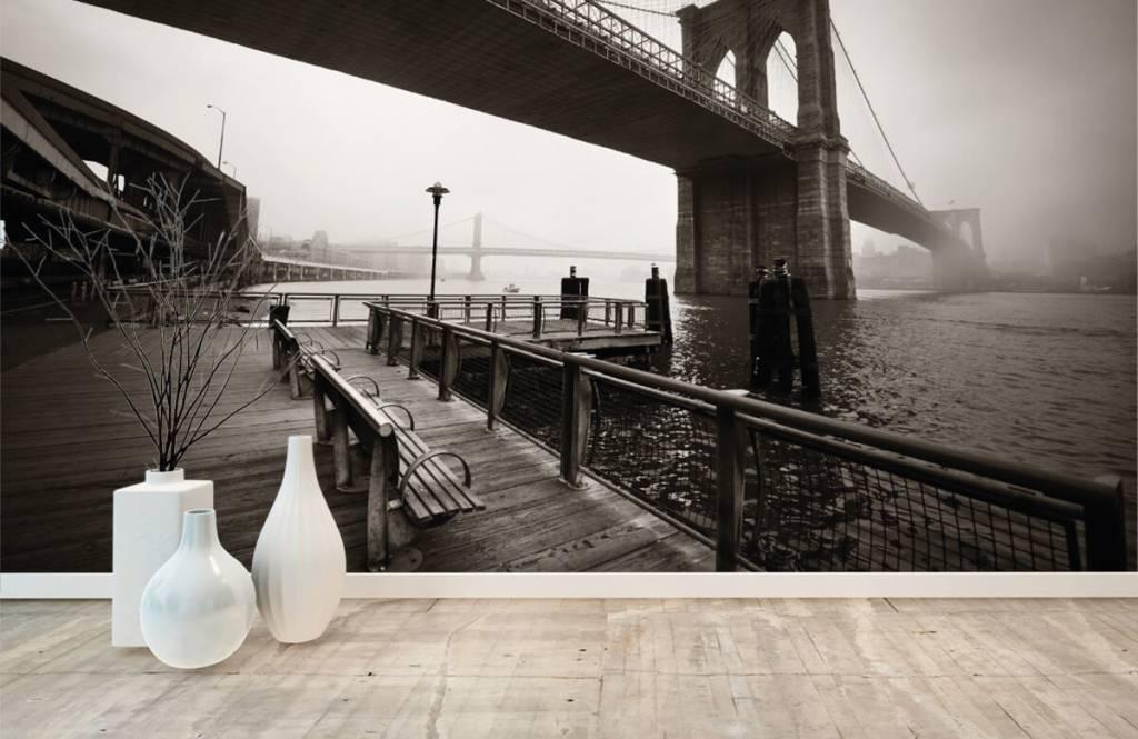 Black and white wallpaper - Brooklyn Bridge - Teenage room 8