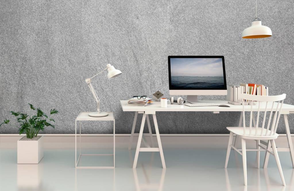 Concrete look wallpaper - Dark sanded concrete - Office 1