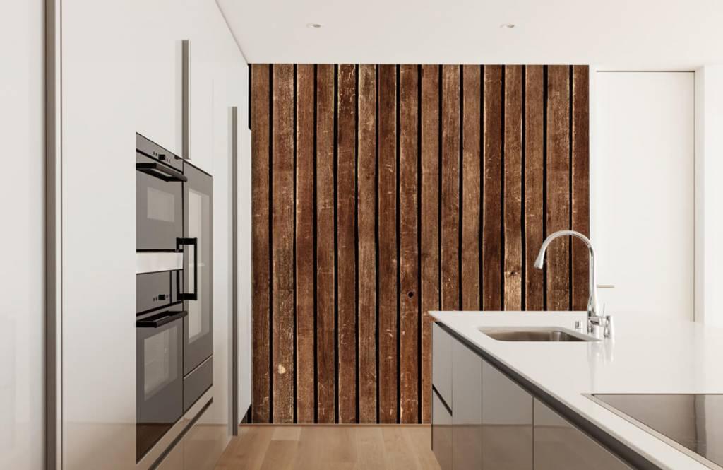 Wooden wallpaper - Dark vertical wooden planks - Hallway 4