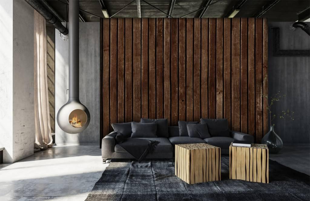 Wooden wallpaper - Dark vertical wooden planks - Hallway 7