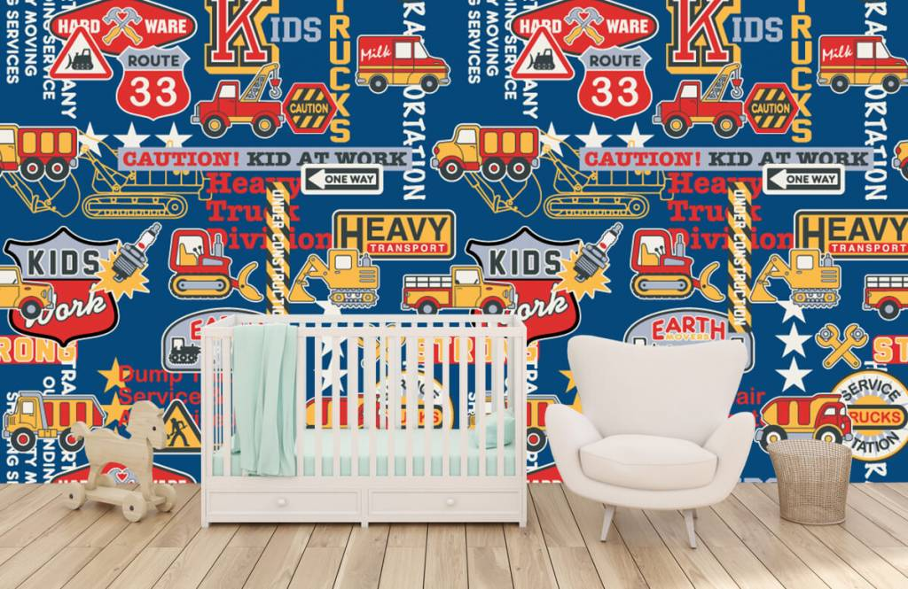 Text wallpaper - Construction traffic and badges - Children's room 2