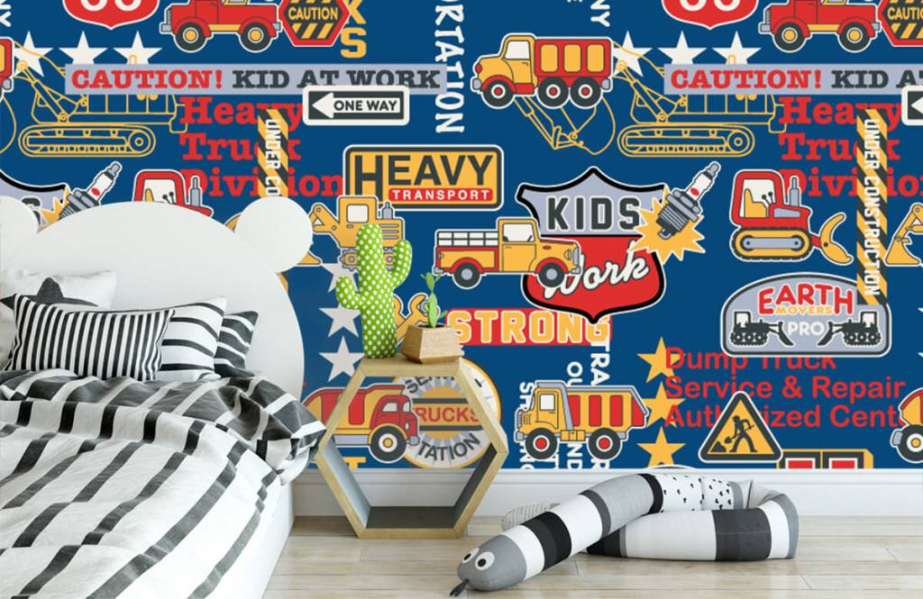 Text wallpaper - Construction traffic and badges - Children's room 3