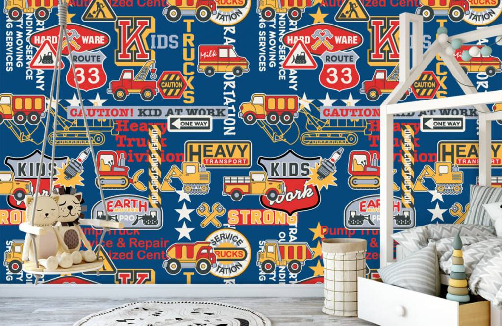 Text wallpaper - Construction traffic and badges - Children's room 4