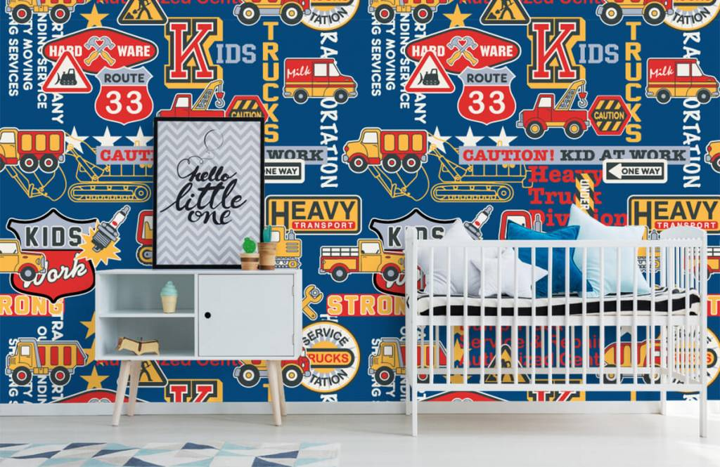 Text wallpaper - Construction traffic and badges - Children's room 5