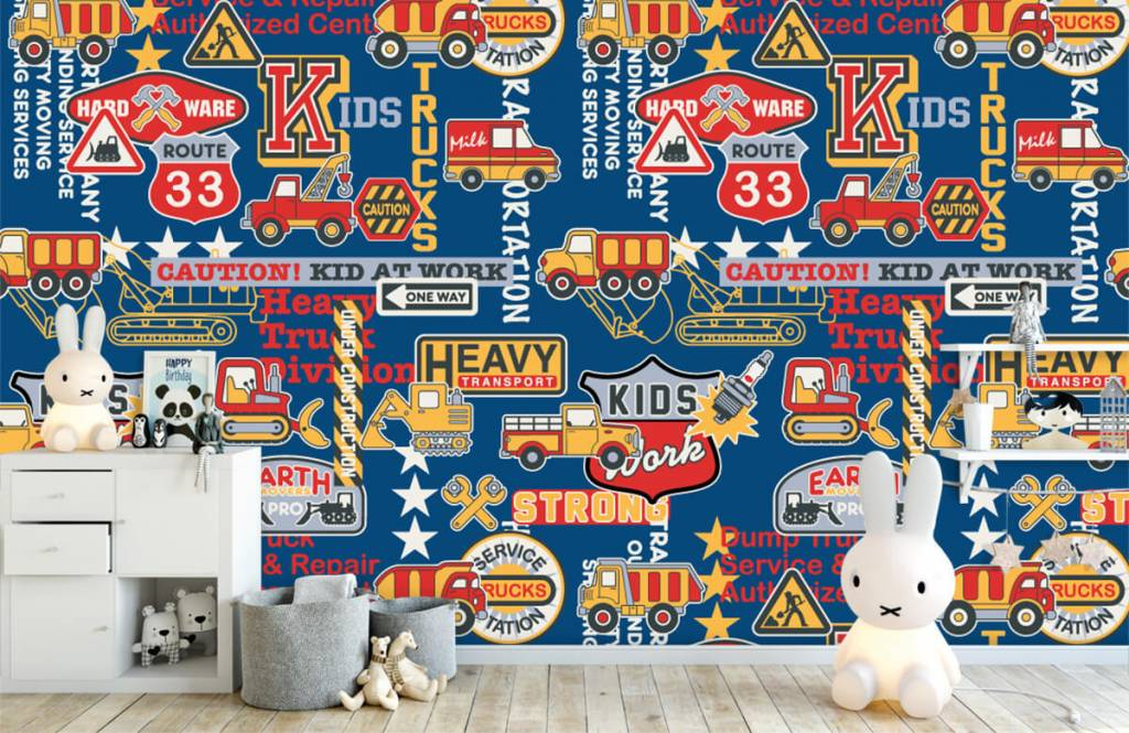 Text wallpaper - Construction traffic and badges - Children's room 6