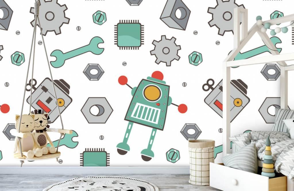 Children's wallpaper - Signed robots - Children's room 1