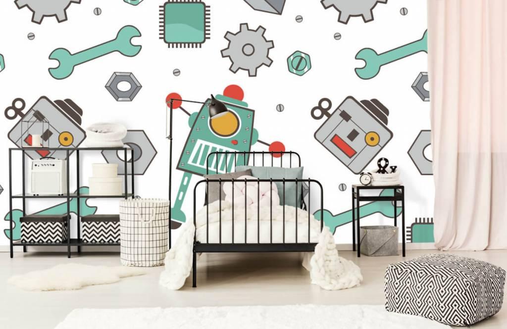 Children's wallpaper - Signed robots - Children's room 2