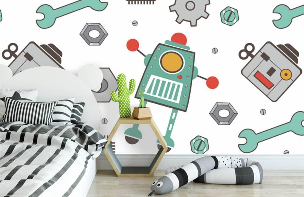 Children's wallpaper - Signed robots - Children's room 3