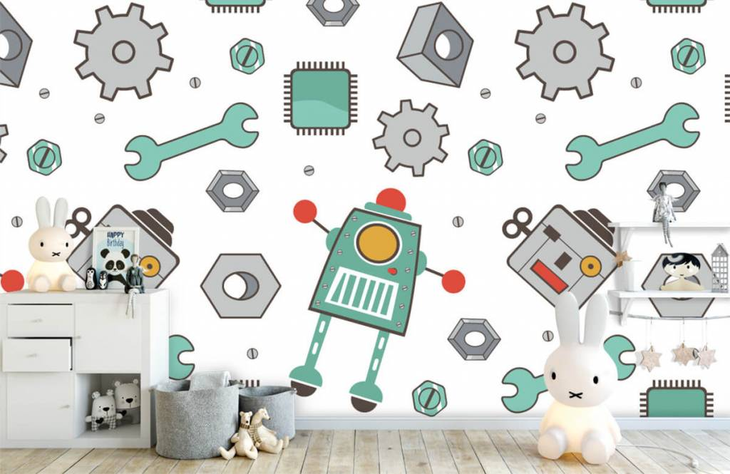 Children's wallpaper - Signed robots - Children's room 4