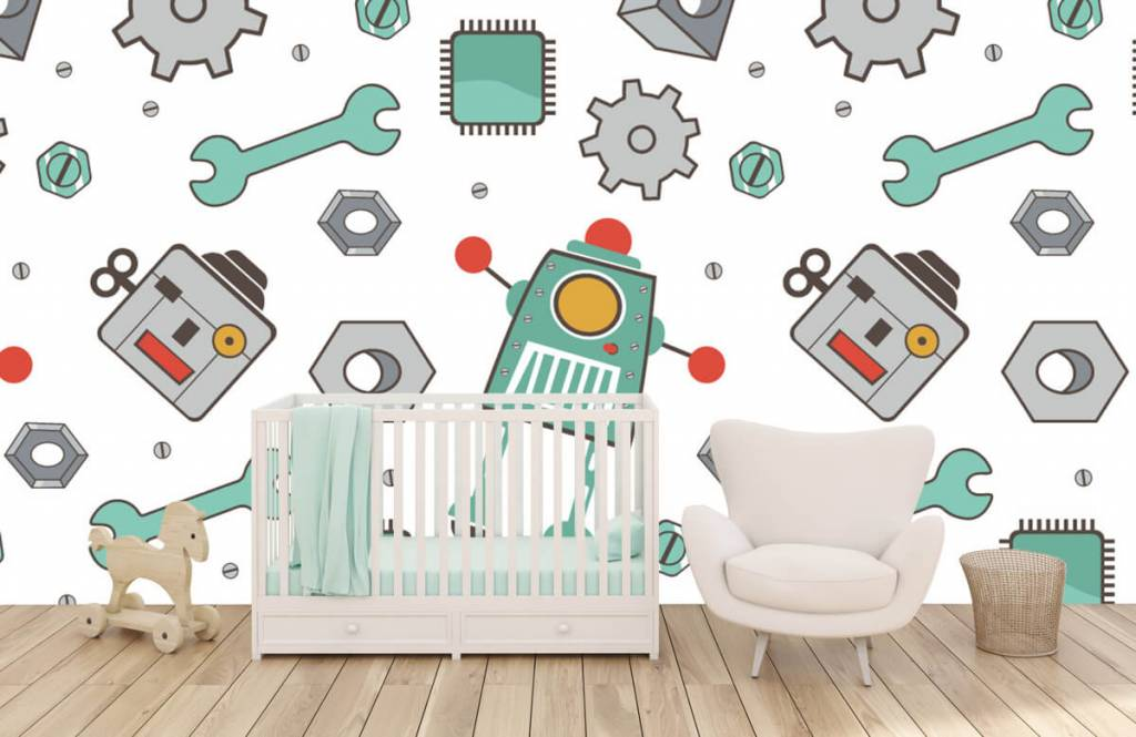 Children's wallpaper - Signed robots - Children's room 5