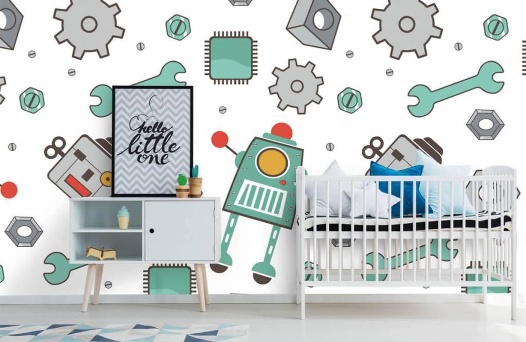 Children's wallpaper - Signed robots - Children's room 6