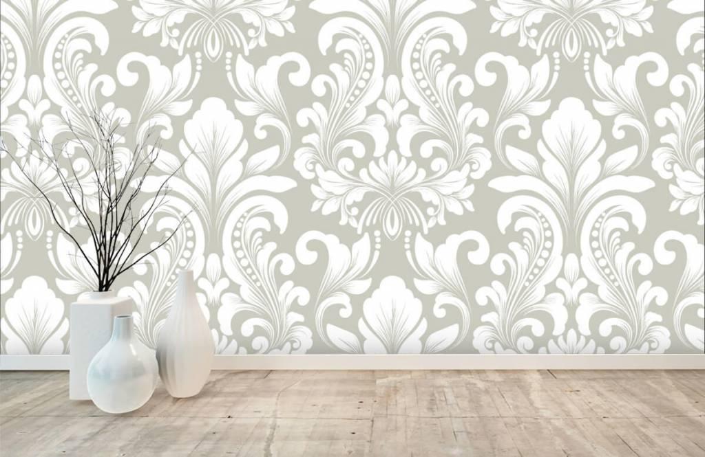 Baroque wallpaper - Grey damask pattern - Bedroom 1
