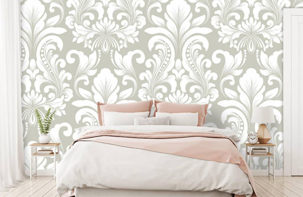 Baroque wallpaper - Grey damask pattern - Bedroom 2