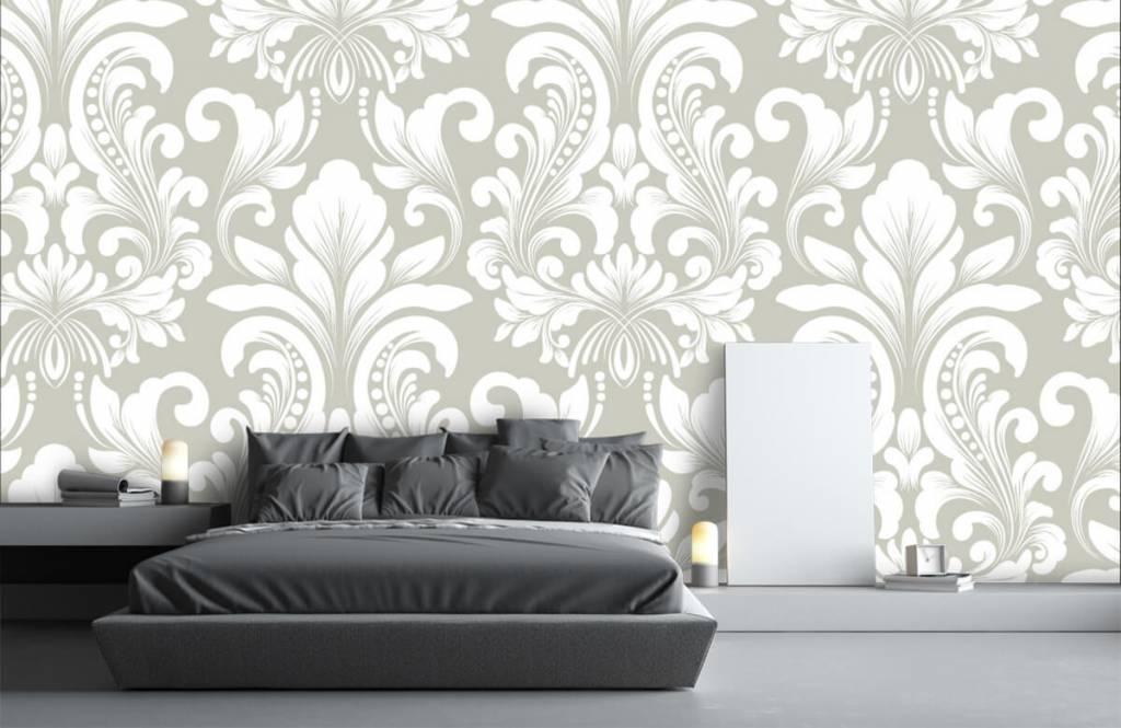 Baroque wallpaper - Grey damask pattern - Bedroom 3