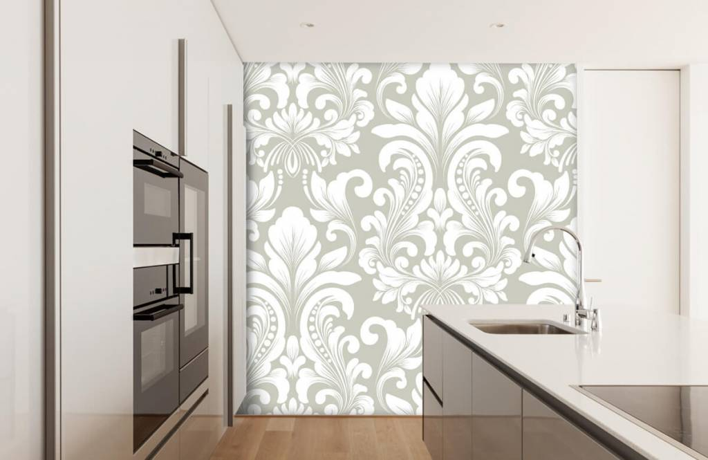 Baroque wallpaper - Grey damask pattern - Bedroom 4