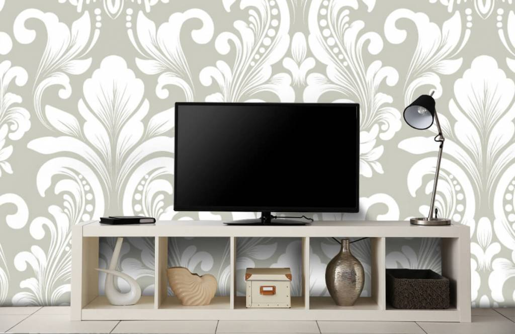 Baroque wallpaper - Grey damask pattern - Bedroom 5