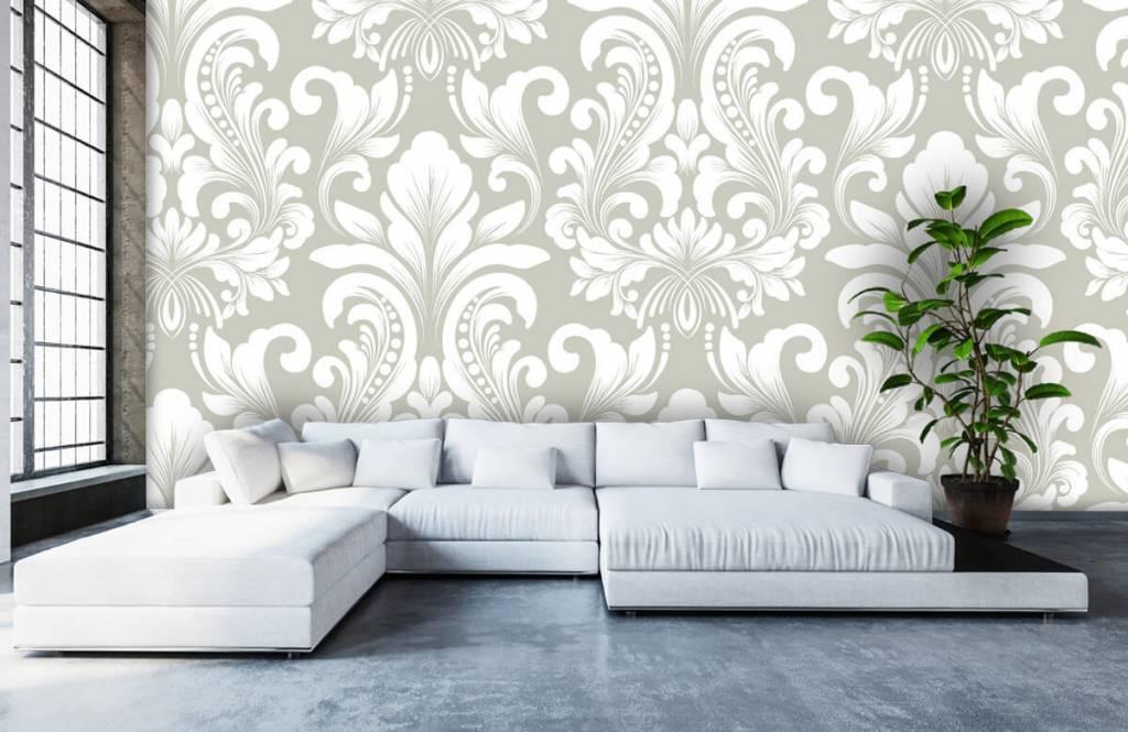 Baroque wallpaper - Grey damask pattern - Bedroom 6