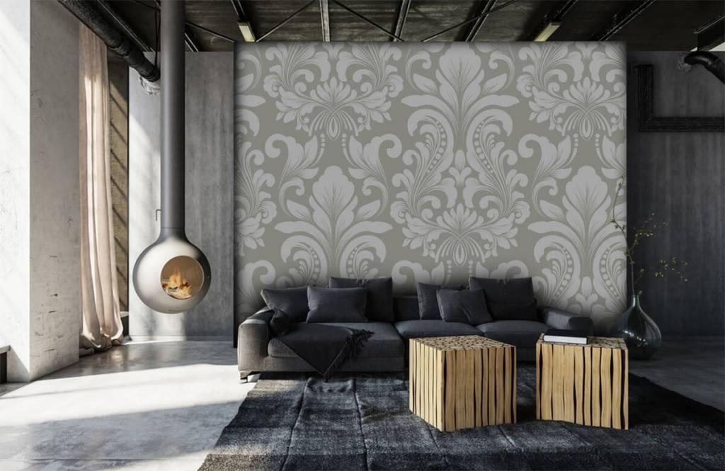 Baroque wallpaper - Grey damask pattern - Bedroom 7