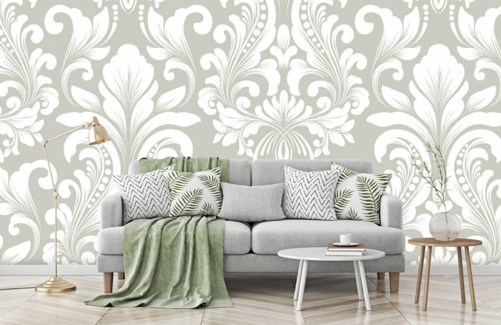Baroque wallpaper - Grey damask pattern - Bedroom 8