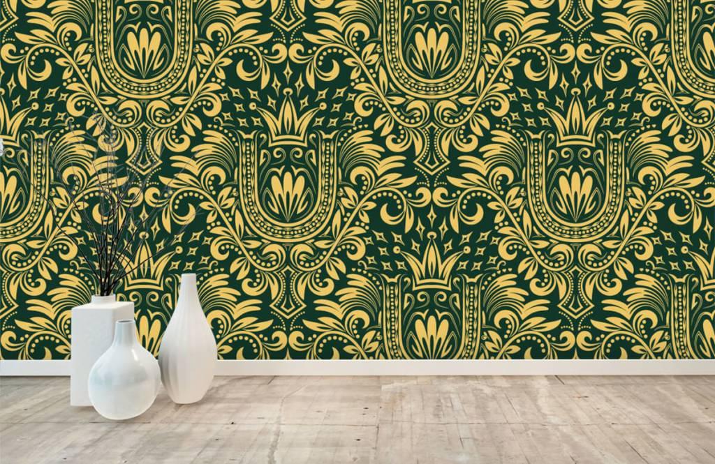 Baroque wallpaper - Green baroque pattern - Bedroom 1