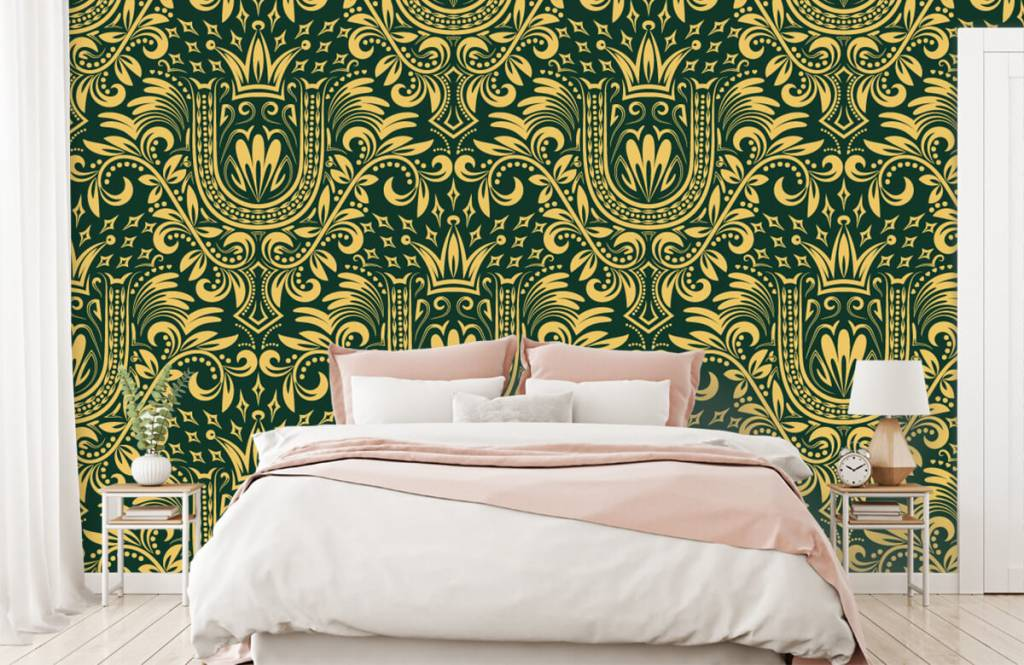 Baroque wallpaper - Green baroque pattern - Bedroom 2