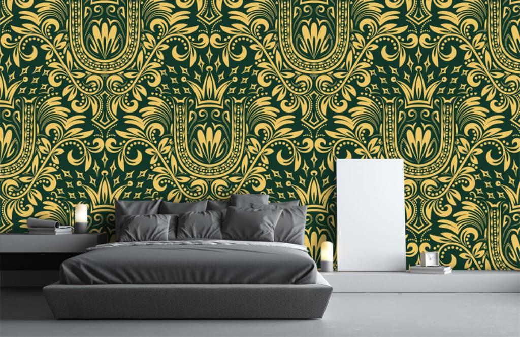 Baroque wallpaper - Green baroque pattern - Bedroom 3