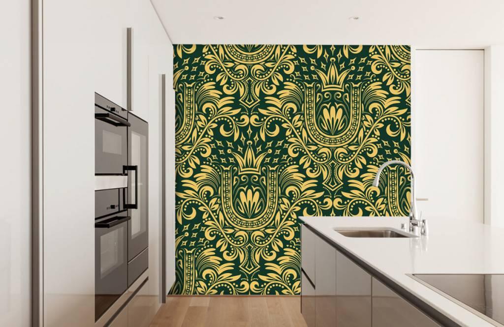 Baroque wallpaper - Green baroque pattern - Bedroom 4