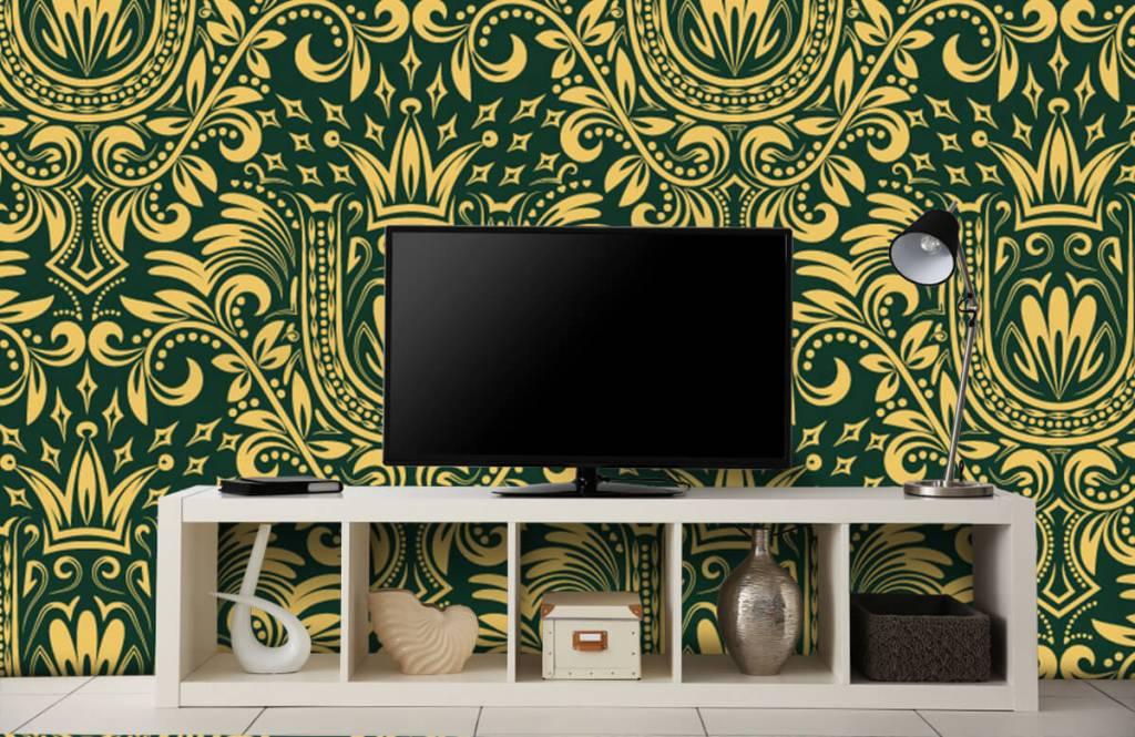 Baroque wallpaper - Green baroque pattern - Bedroom 5