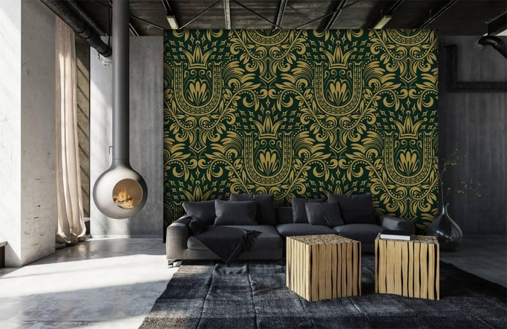 Baroque wallpaper - Green baroque pattern - Bedroom 7