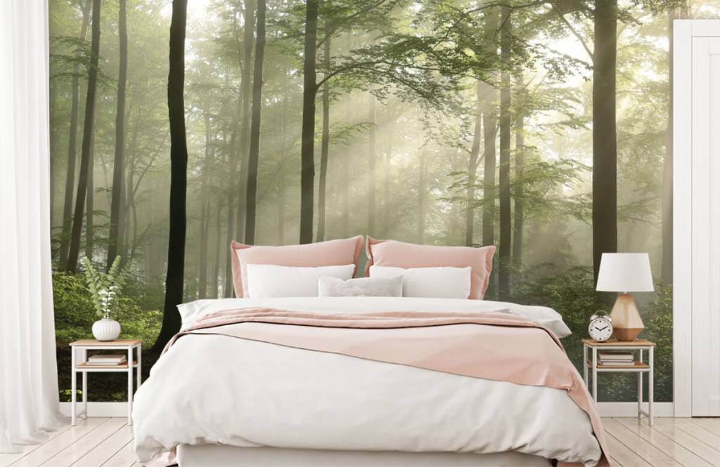 Forest wallpaper - Green forest in the fog - Bedroom 1