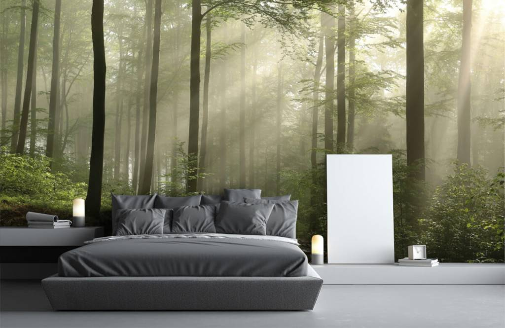 Forest wallpaper - Green forest in the fog - Bedroom 2