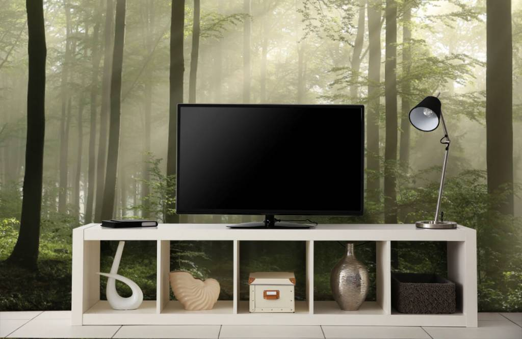 Forest wallpaper - Green forest in the fog - Bedroom 4