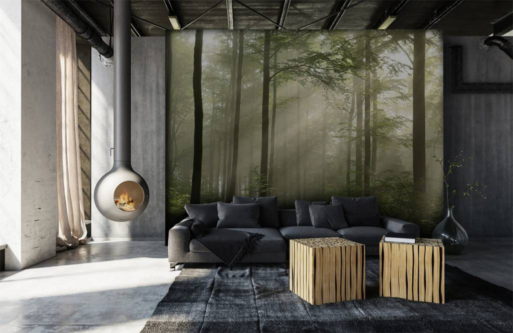 Forest wallpaper - Green forest in the fog - Bedroom 6