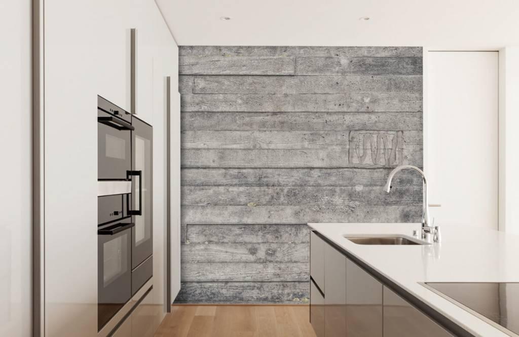 Wooden wallpaper - Wooden grey wall - Entrance 1